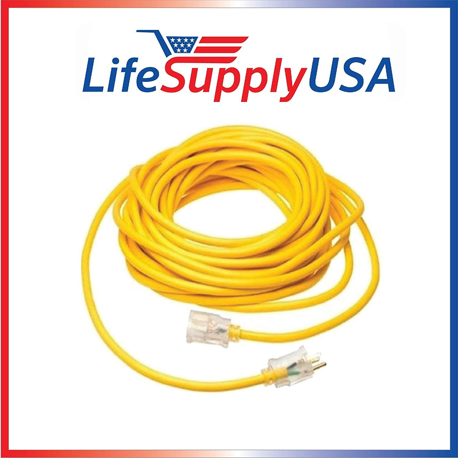 75 feet 10//3 75ft SJTW Lighted End Extension Cord 15 Amp 300 Volt 1875 Watt