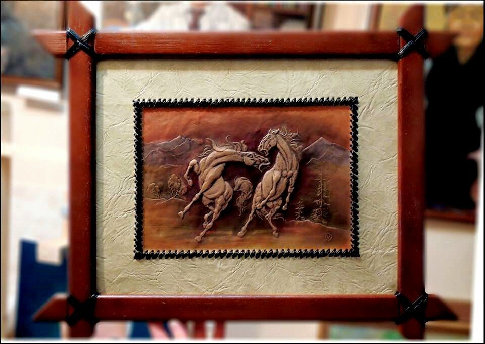 Wild Horse Hand Carved Leather Artwork Wall Hanging