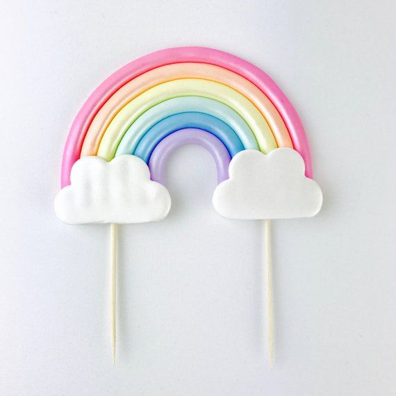 Photo of Rainbow CAKE Topper – Pastel Rainbow fondant CAKE Topper for Unicorn Rainbow Baby Shower or Birthday party