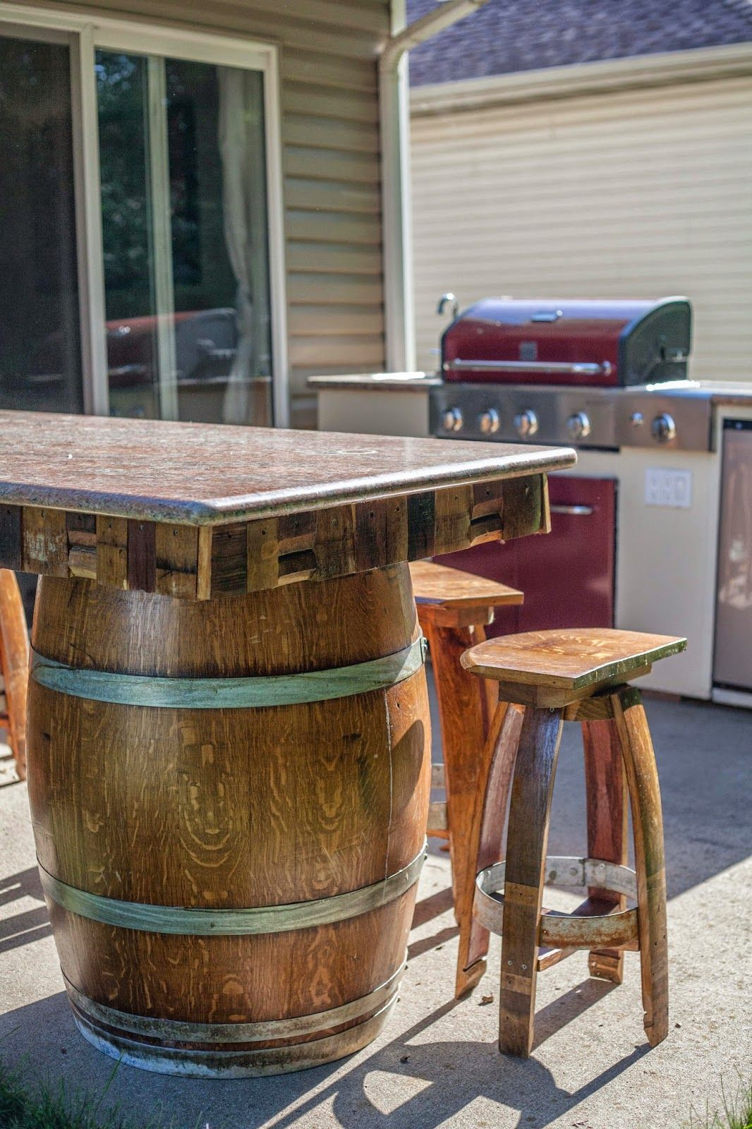 Backyard Wine Barrel Bar With Granite Counter Tops