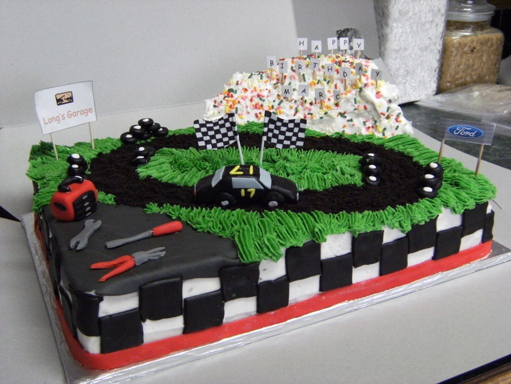 Cake for a friend that wanted race car dirt track sponsors