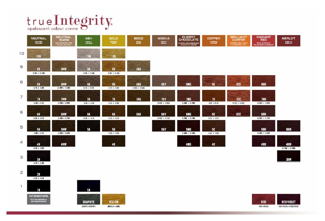 True integrity scruples color chart makeup hair clients
