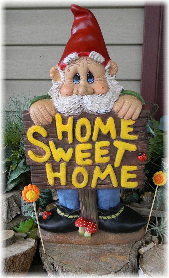 Gnome In Garden: Gnome Garden Statue Ceramic Hand Painted Home Sweet Home