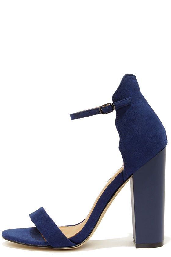 Navy Blue Heels With Ankle Strap