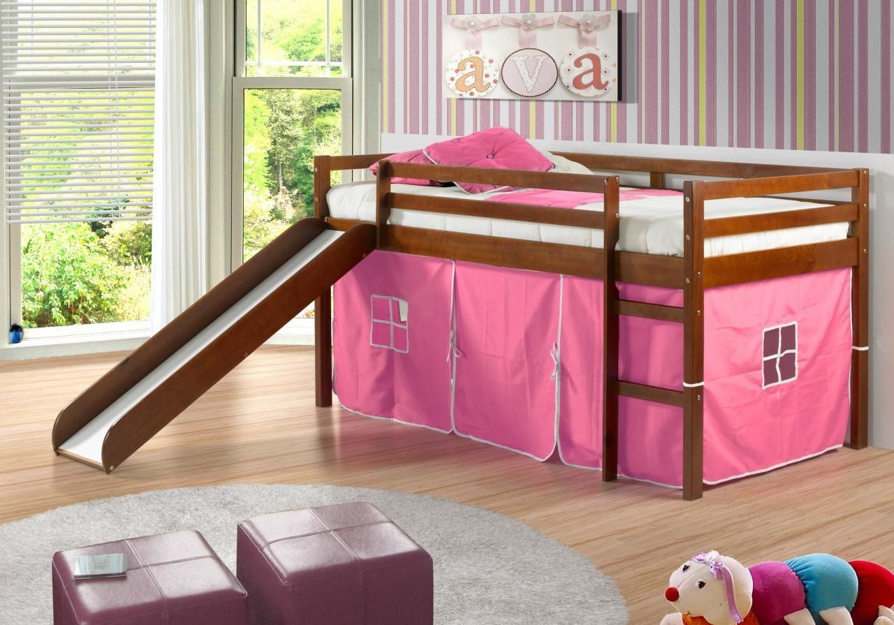 Tent Twin Low Loft Bed with Slide  Tents Twins and Low loft beds