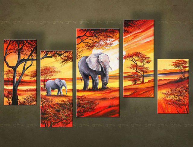 Ručne maľovaný obraz KRAJINA 5 dielny 4970FA