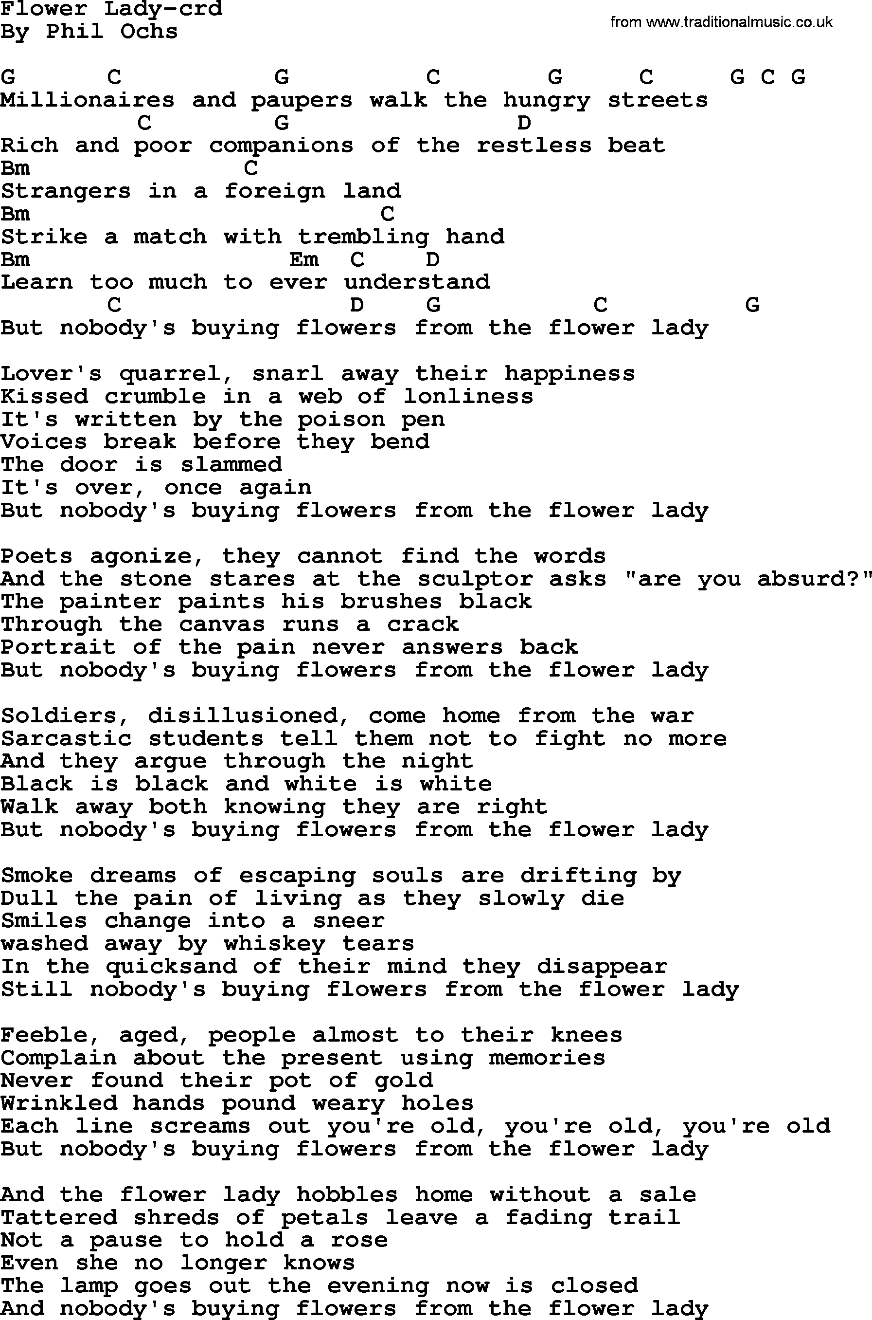 Phil Ochs Song Flower Lady By Phil Ochs Lyrics And Chords Phil