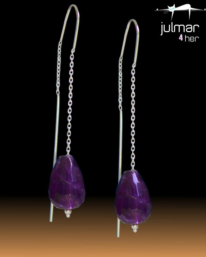 Amethyst Sterling Silver Threader Earrings