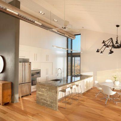 Exposed Spiral Minimalist Dining Room Hvac Design Dining Room Contemporary