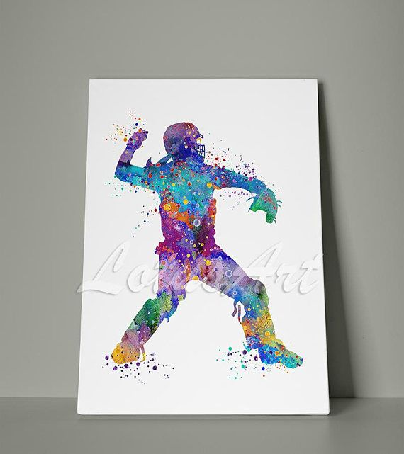 Girl Baseball Softball Catcher Canvas Print Watercolor Art Print Sports Art  Print Baseball Wall Art Baseball Player Home Decor Wall Hanging | Pinterest  ...