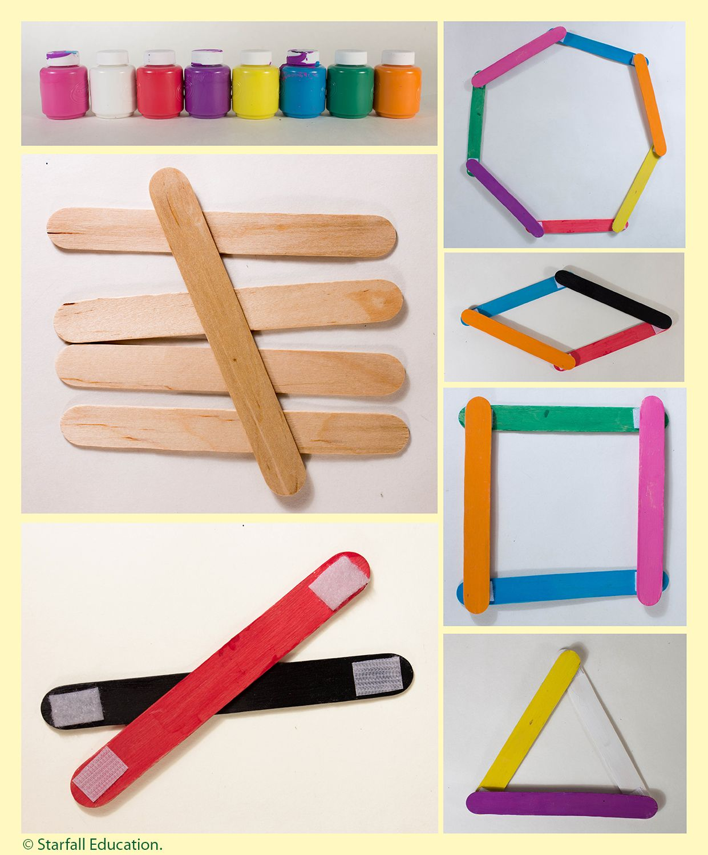 Popsicle Sticks Velcro Practice Making Shapes