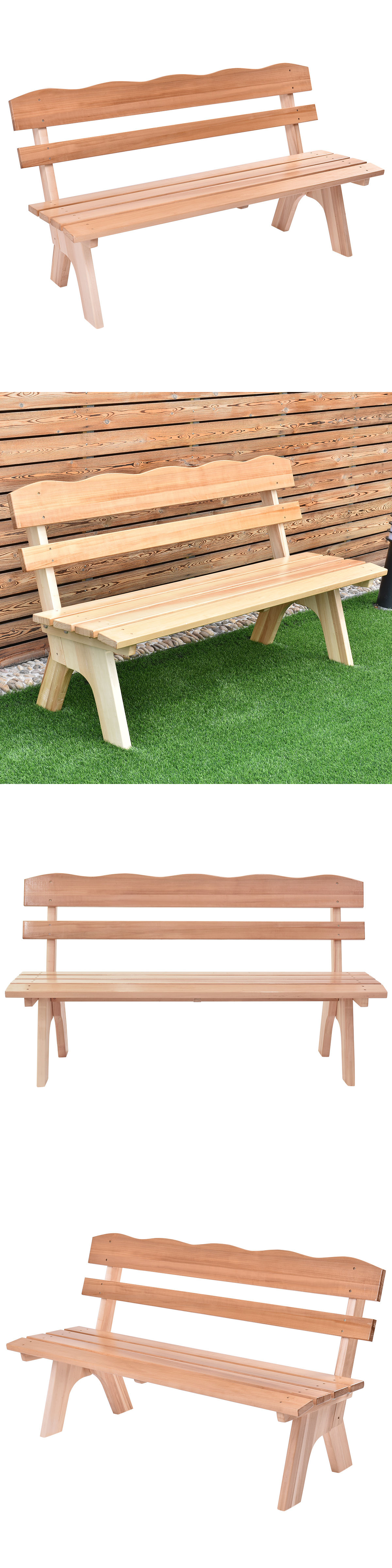 Benches 79678: 5 Ft 3 Seats Outdoor Wooden Garden Bench Chair Wood Frame  Yard Deck