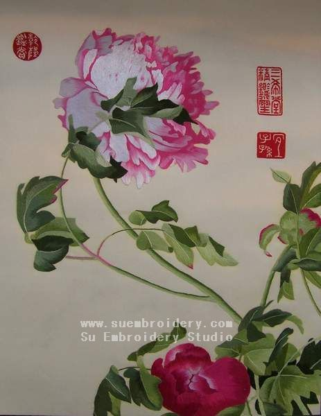 silk embroidered floral, handmade embroidery, Chinese Suzhou embroidery