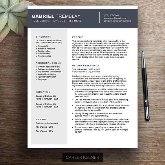 Professional resume template / cv template Chronological resume ...