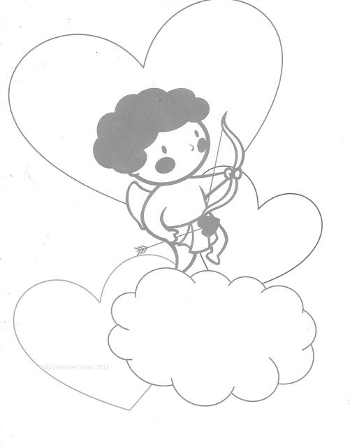 Valentine Conversation Heart Printables with Cherub Cupid Coloring Page