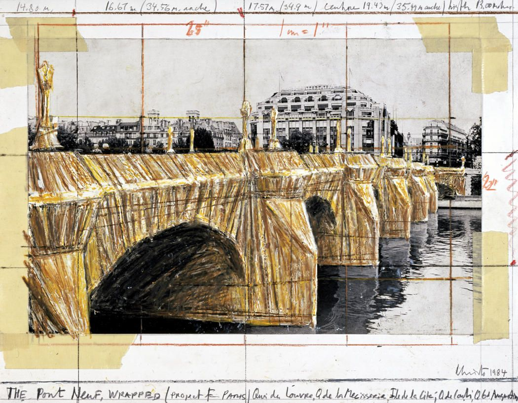 """Christo, """"The Pont Neuf, Wrapped (Project for Paris),"""" 1984. 11"""" x 14"""" (28 x 35.5 cm) Pencil, Enamel Paint, Photograph by Wolfgang Volz, Wax Crayon, and Tape."""