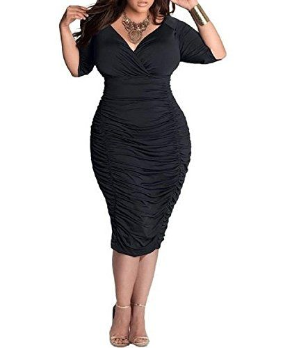 Black body hugging dresses for plus