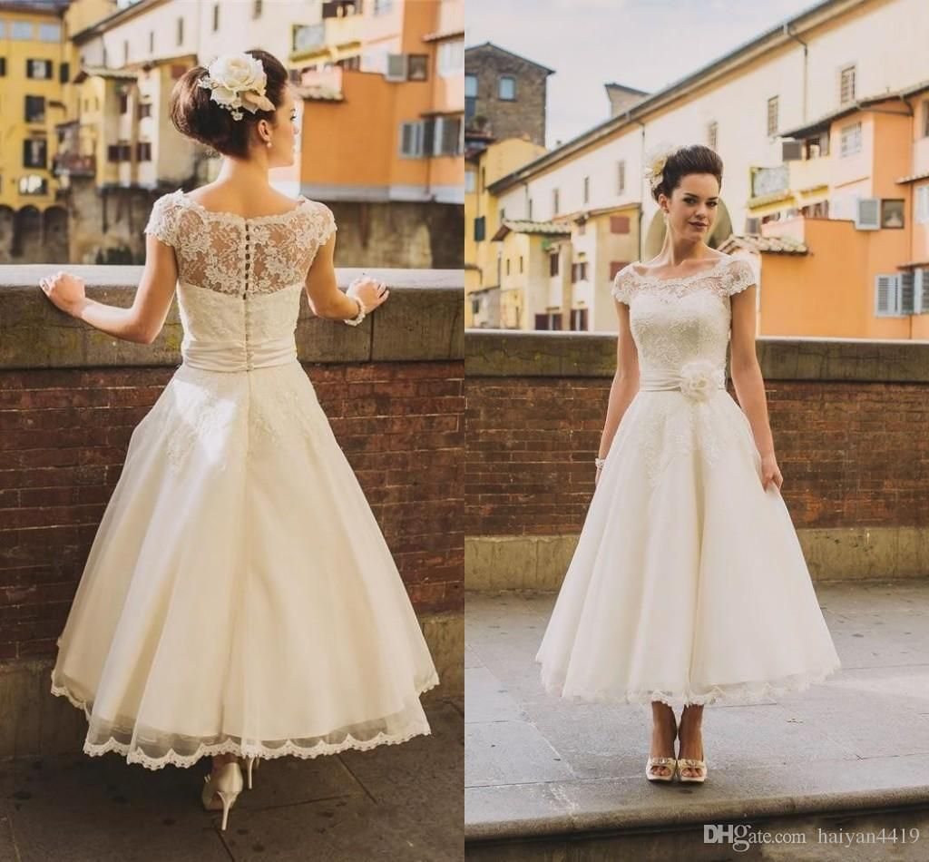 50s Style Retro Vintage Wedding Dresses 2016 Illusion Neck Cap Sleeves Lace Beads Short Ankle Length