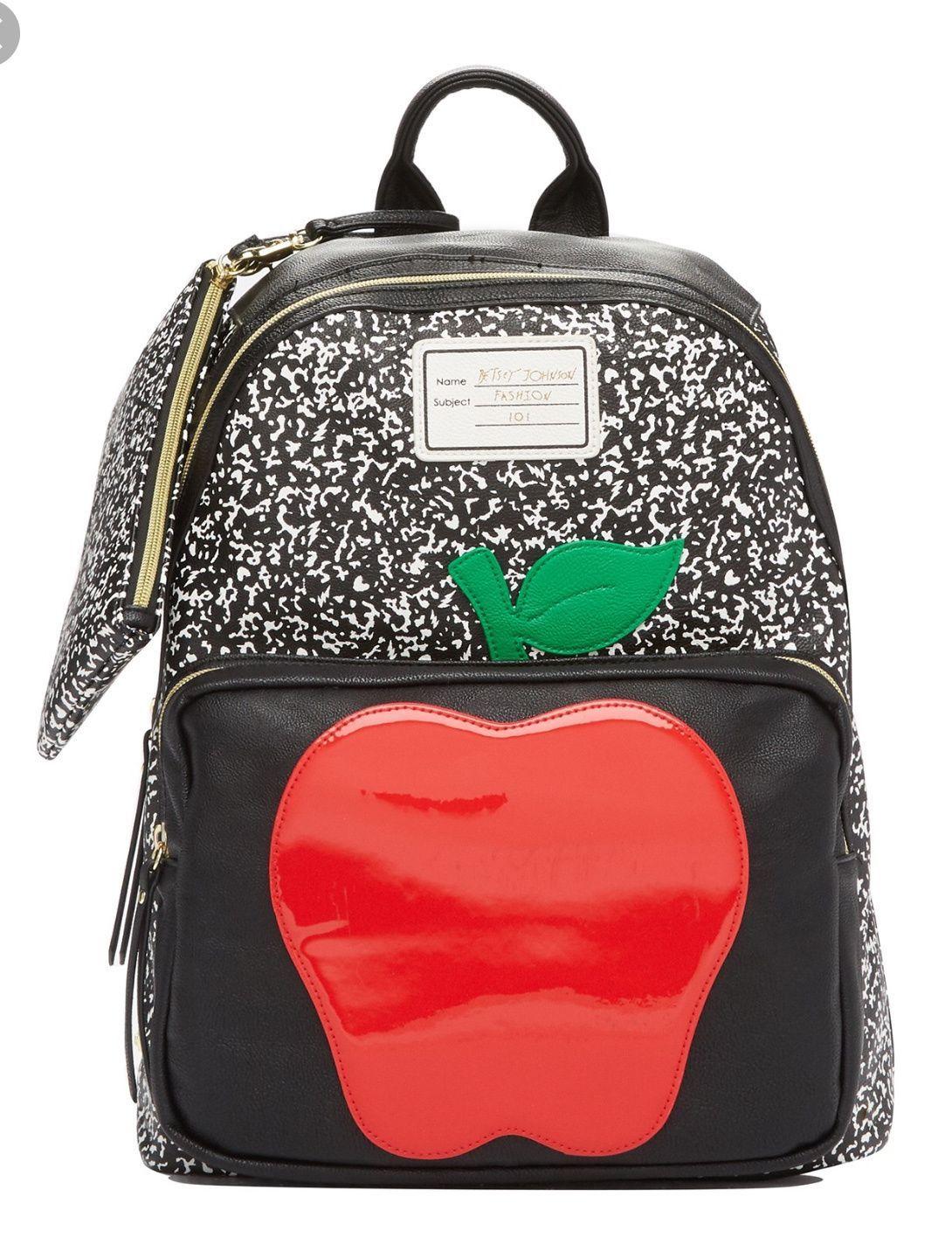 15c40c2381a7 Betsey Johnson Apple black backpack