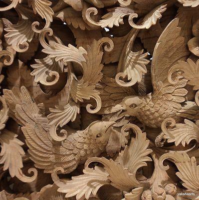 hand carved wall art teak wooden panel bird deer relief wood carving sculpture lo
