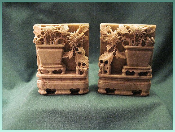 Antique Pair Chinese Soapstone Bookends With Vase And Foliage