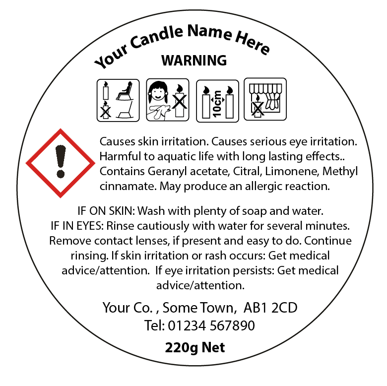 photo regarding Free Printable Candle Warning Labels named CLP labels for candles and diffusers - 50mm Round Model