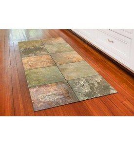 Padded Floor Rug Brown Slate Image Flooring Faux Tiles Slate Kitchen