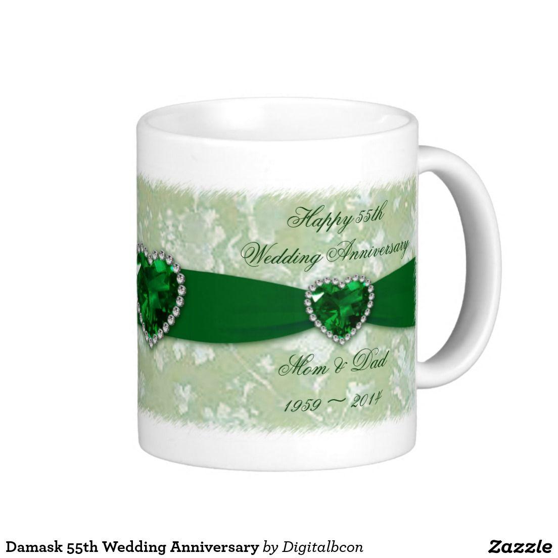 Damask 55th Wedding Anniversary Coffee Mug Wedding Anniversary