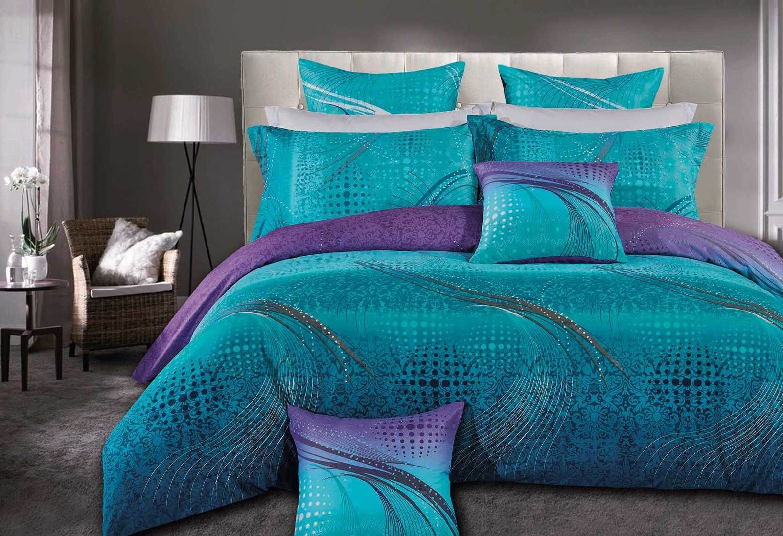 Queen Size Turquoise Aqua And Purple Quilt Cover Set 3pcs With
