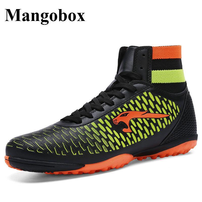 Mangobox Men Kids Turf Football Shoes Blue/Gold High Top Men Football Boots  New Cool