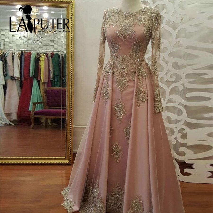 Beaded lace appliques long sleeve muslim evening dresses long floor