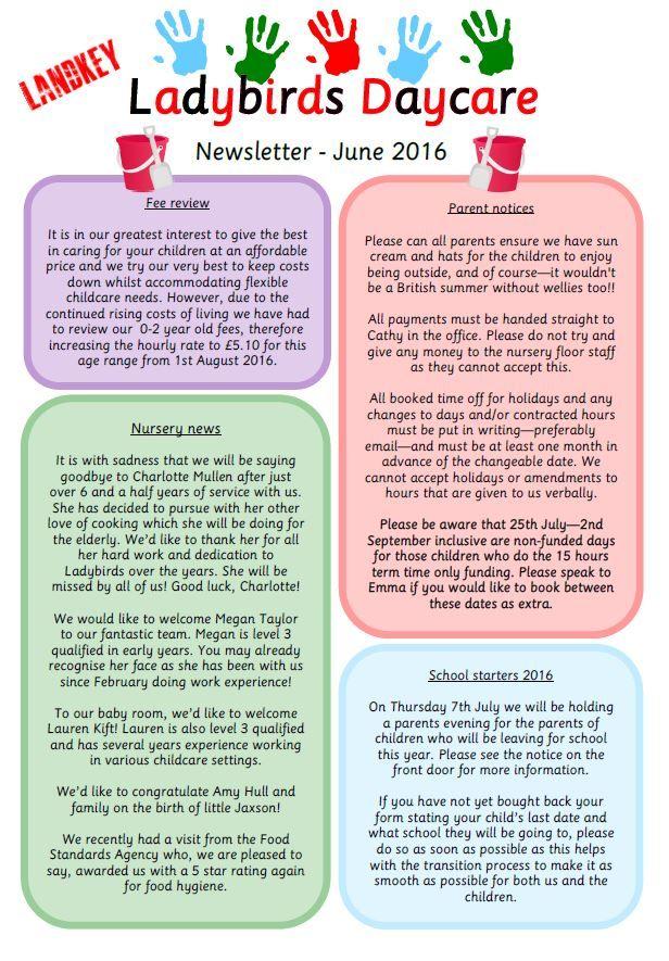 Past Newsletters - Ladybirds Daycare Barnstaple Devon