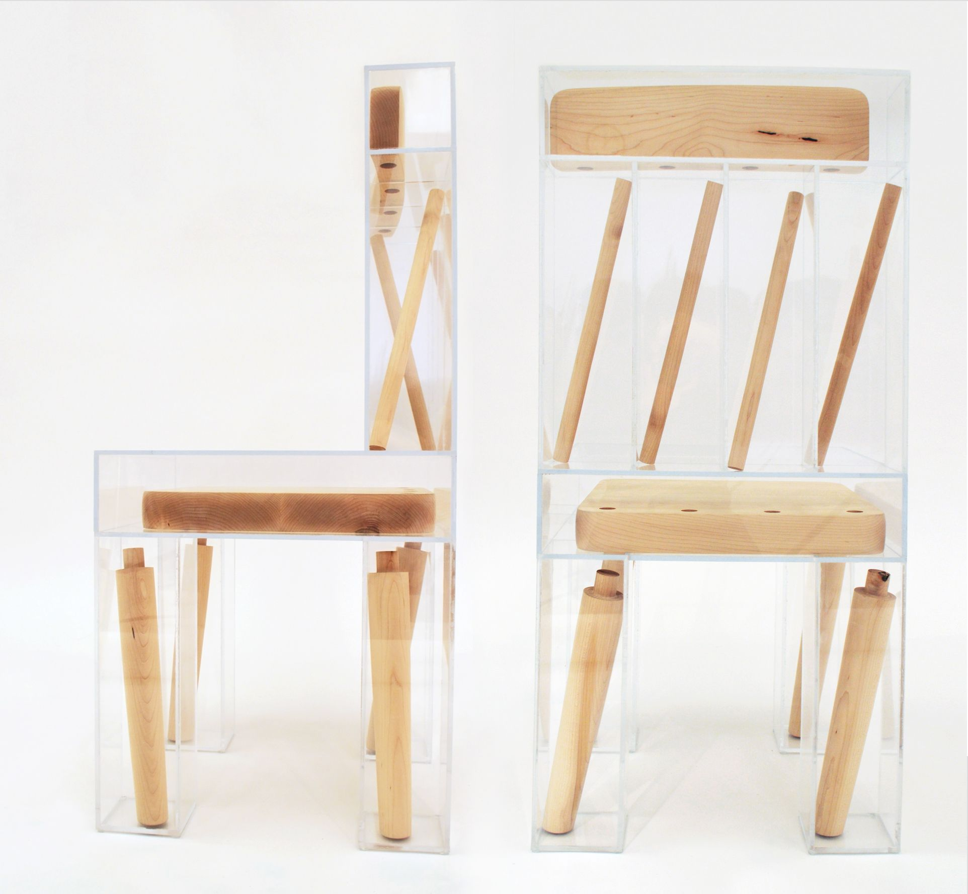 A Dissected Chair With Its Parts Trapped In Clear Acrylic