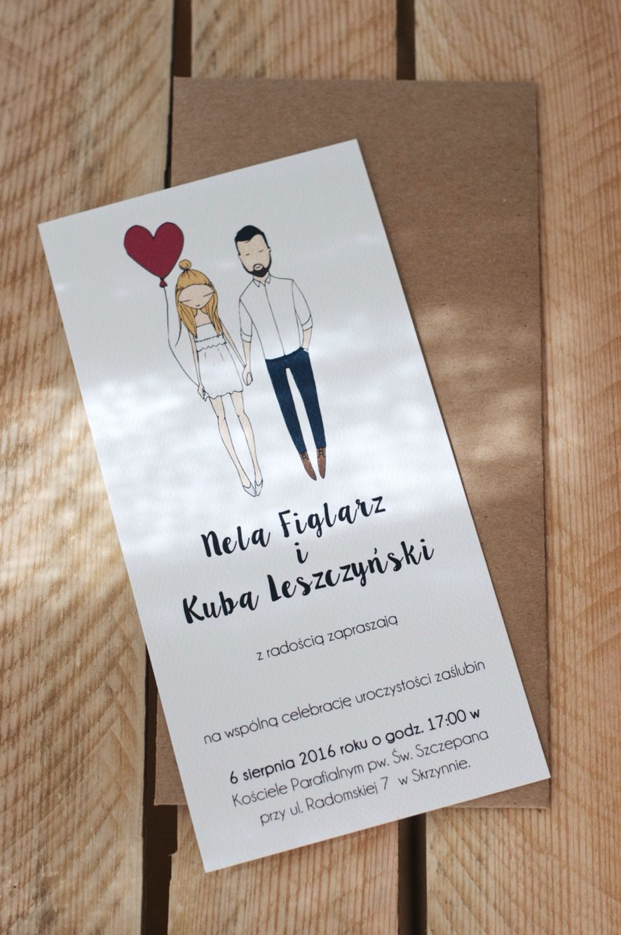 Wedding invitations with custom portrait by Blanka Biernat ...