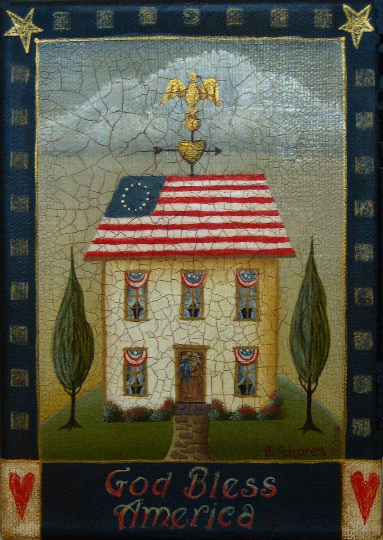 God Bless America - Patriotic Folk Art 5x7 Giclee Print. 20.00 Shed
