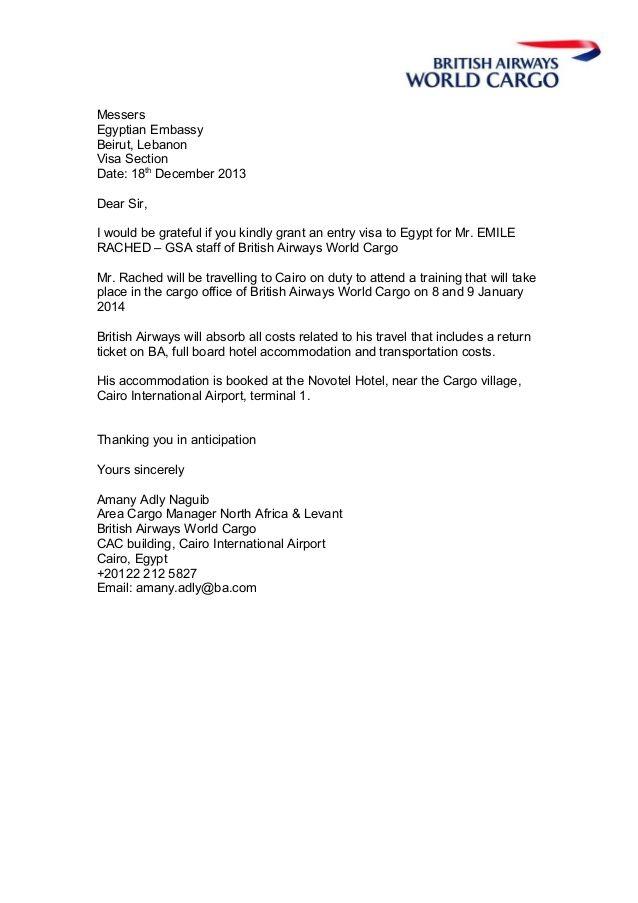 messersegyptian embassybeirut lebanonvisa sectiondate thdecember - best of invitation letter format for australian business visa