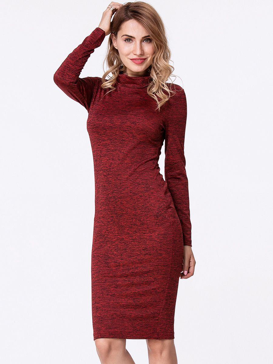 Turtleneck plain long sleeve bodycon dress bodycon dress dress