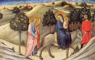 Sano di Pietro - Fuga in Egitto - 1445 - Pinacoteca Vaticana, Città del Vaticano