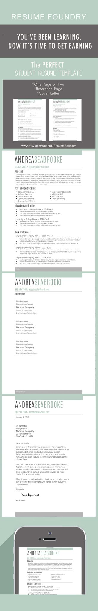 Student Resume Template for Word, 1-3 Page Resume + Cover Letter +