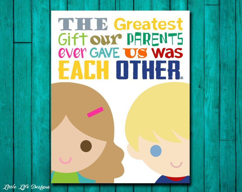 Brother and Sister Wall Art. Kid Wall Art. Children\'s Wall Art ...