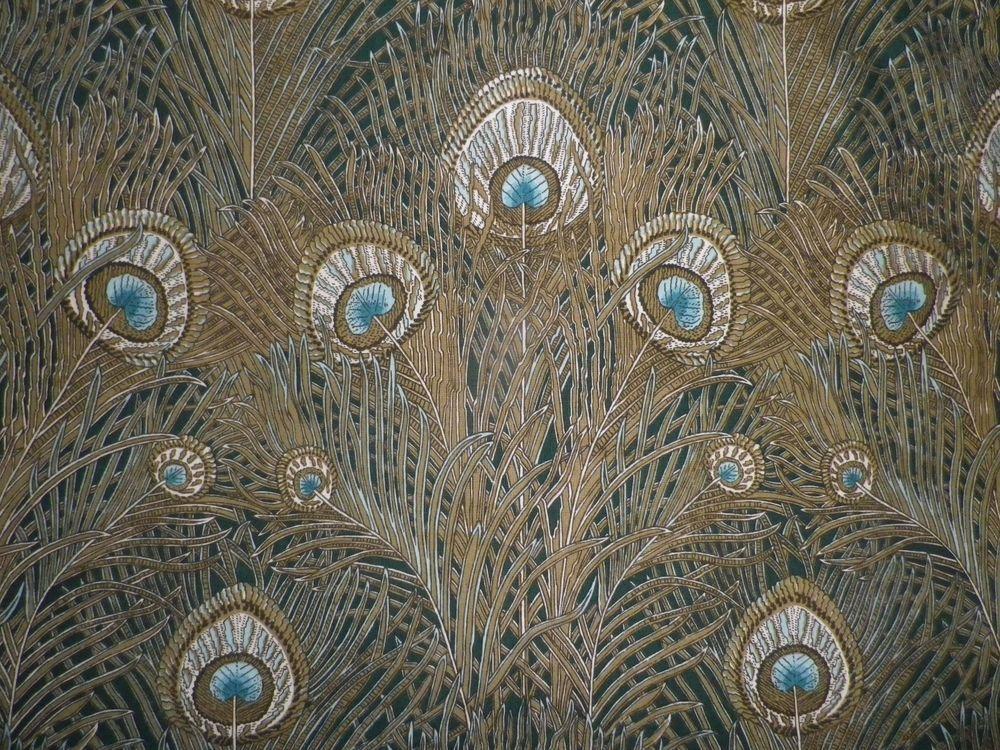 Vintage Liberty Cotton Interiors Fabric 'Hera' Peacock Feathers on Dark Green #Liberty