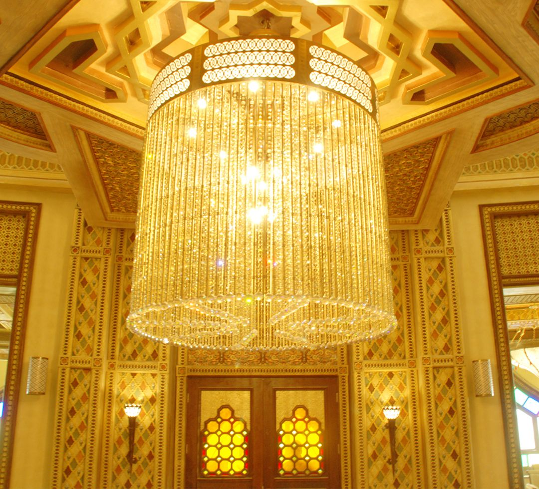 Brass with crystal chandelier we put in racing and equistrian club