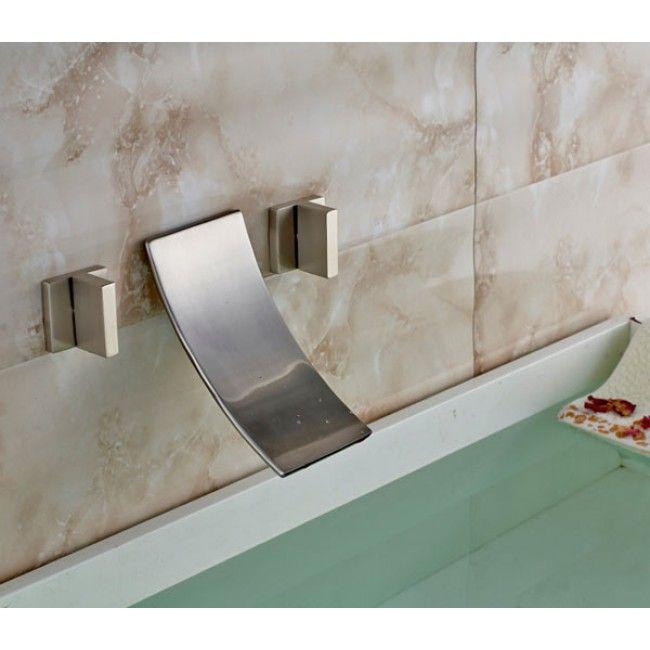 Wall Mount Brushed Dual Handle Bathroom Sink Faucet Bathtub