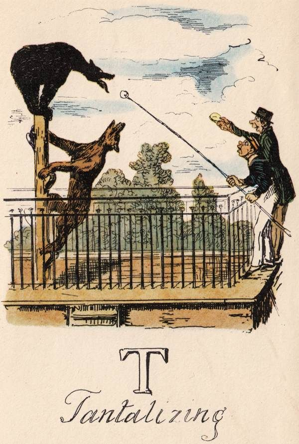 """""""T: Tantalizing"""" from """"A Comic Alphabet"""" by George Cruikshank (1836)"""