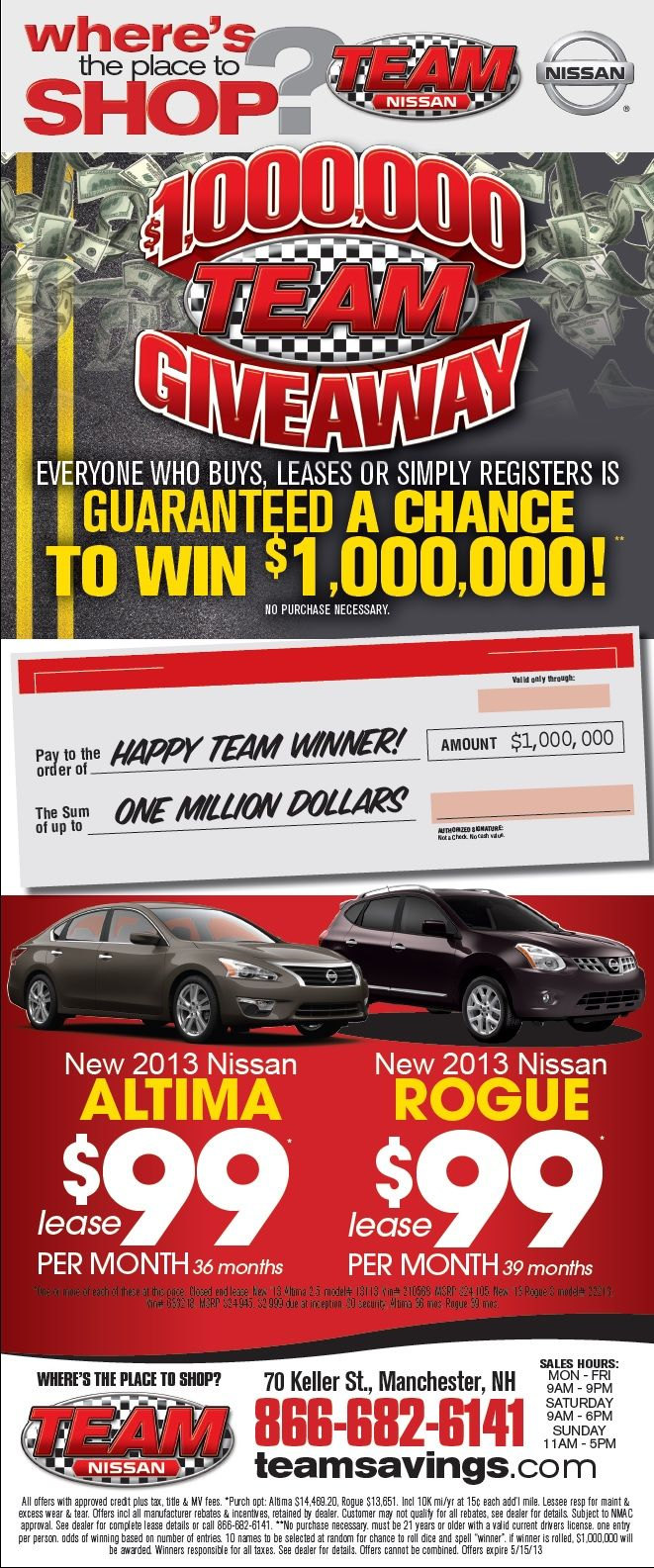 You Can Win $1,000,000 Now At Team Nissan In Manchester, NH! Visit  TeamNissanNH.com Now To Learn More! #win #million #altima #rogue #cars # Nissan ...