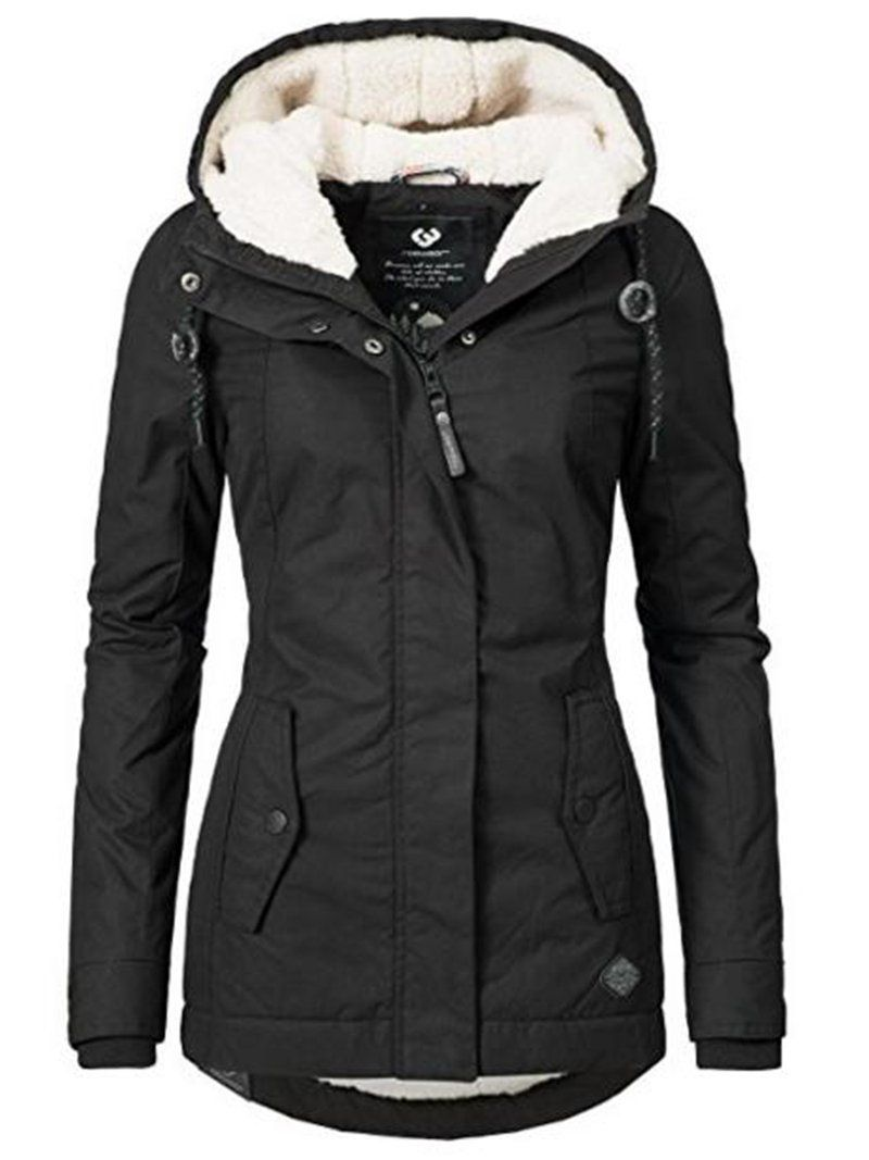 slim mid-length Women s Warm Black Jacket coat 05e61ce0e7b
