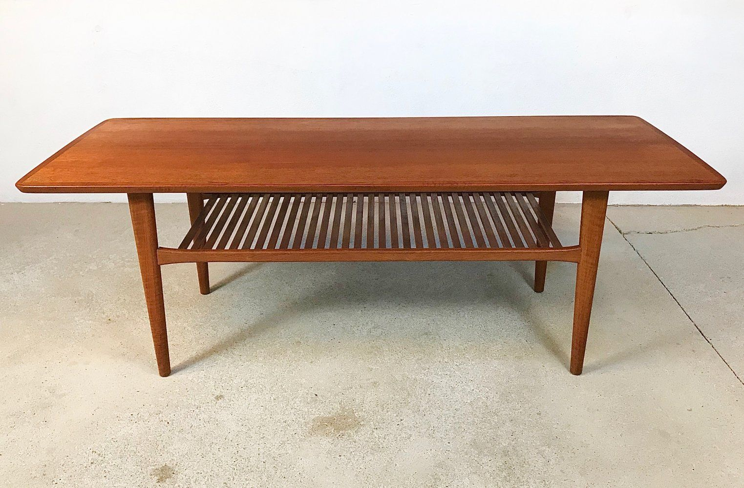 For Sale Vintage Danish Teak Coffee Table With Slatted Tray