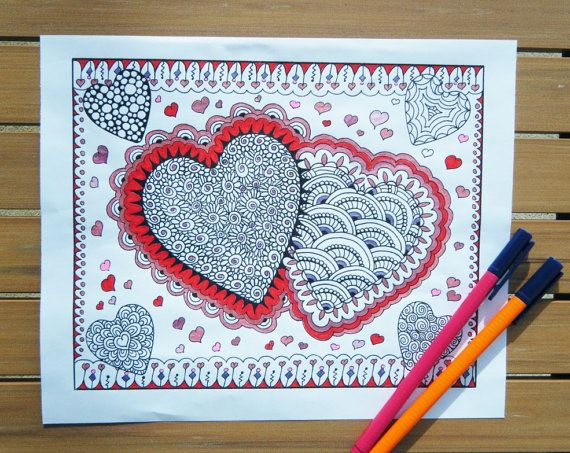 Zentangle Coloring Page  Hearts  Printable Heart by TheTangledCat, $2.85