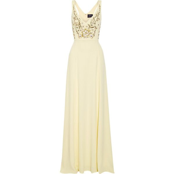 Marchesa Notte - Embroidered Crepe De Chine Gown (680 CAD) ❤ liked on Polyvore featuring dresses, gowns, marchesa, vestidos, long dress, yellow, embroidered gown, yellow vintage dress, embroidered dress and long dresses