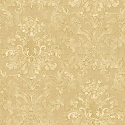 The wallpaper company 20 5 in w beige floral damask - Floral wallpaper home depot ...